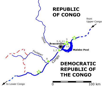 Map of Republic of Congo Sampling Sites, July-August 2006