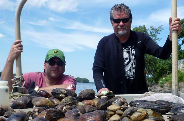 DLG and KSC with a haul of mussels from the Mississippi River (2013).