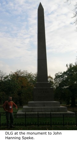 Daniel Graf at the monument to John Hanning Speke.